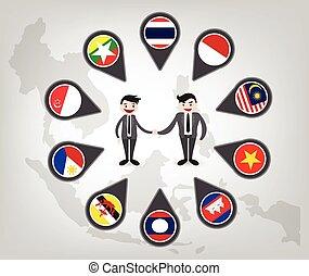 land, kompagniskab, (aec), mellem, asean