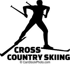 land, kreuz, ski fahrend