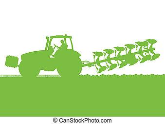 land, land, abbildung, feld, vektor, korn, traktor, ...
