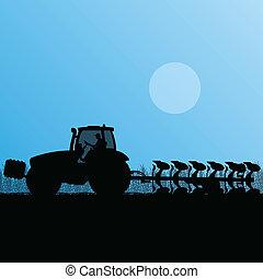 land, land, illustratie, akker, vector, boon, tractor,...