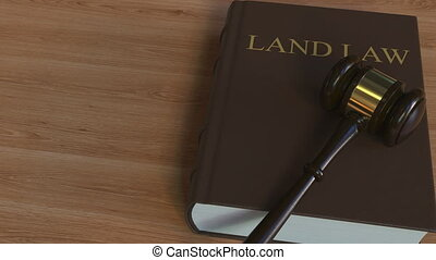 LAND LAW book and court gavel. 3D animation - Book and court...