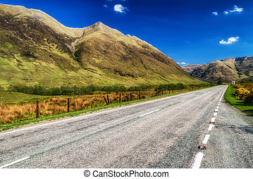land, leerer , straße, schottische