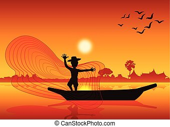 land leven, werpen, vis net, om te, vangen, visje, op, scheepje, in, vijver, meer, stijl, ondergaande zon , tijd