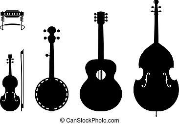 land muziek, instrumenten