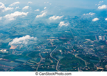 land of Thailand from a great height view from the airplane window