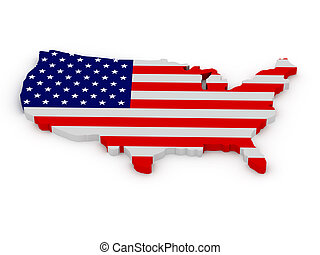 Land of United States of America painted in color of US flag...