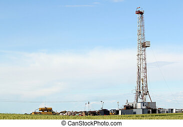 land oil drilling rig in green wheat field