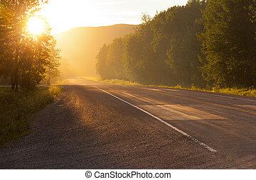 land, ondergaande zon , straat, landelijk, of, zonopkomst