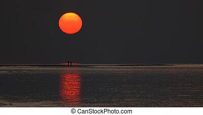 land, opkomende zon