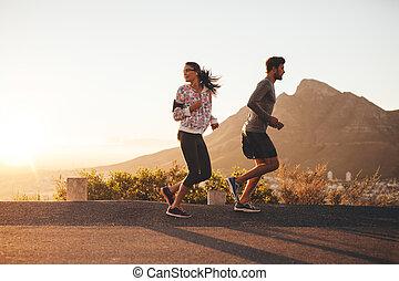 land, paar, straat, jonge, jogging