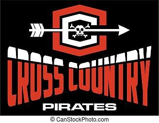 land, piratkopierar, kors