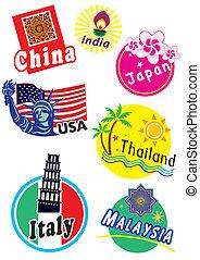 land, reizen, set, sticker