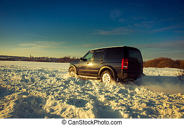 Land Rover Discovery suv Car on background the Russian...