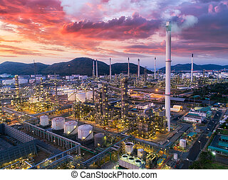Land scape of Oil refinery plant from bird eye view on night