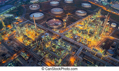 Land scape of Oil refinery plant from bird eye view on...