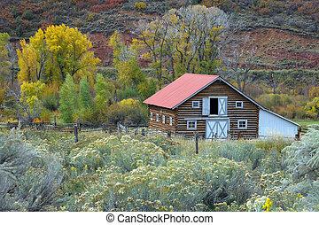 land, schuur, in, herfst