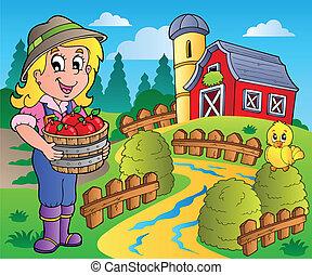 land, schuur, scène, 7, rood