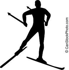 land, silhouette, kreuz, ski fahrend