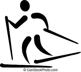 land, ski fahrend, kreuz, ikone