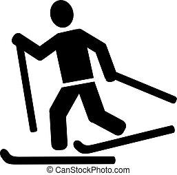 land, ski fahrend, kreuz, piktogramm
