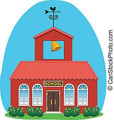 land, skola, vektor, hus