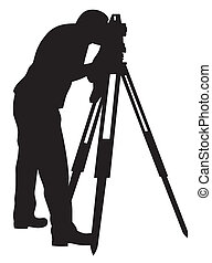 Land surveyor - Abstract vector illustration of land ...