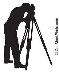 Land surveyor - Abstract vector illustration of land ...