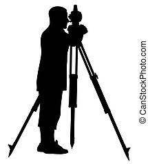 Abstract vector illustration of land surveyor silhouette