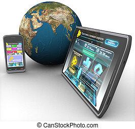land, tablette, freigestellt, telefon, edv, hintergrund, ...