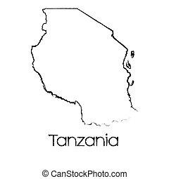 land, tansania, form, hingekritzelt