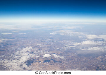 land, the view from the airplane