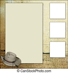 land, thema, plakboek, frame, mal