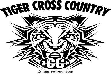 land, tiger, kors