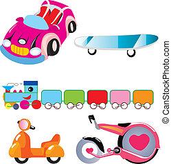 land transport set , Car, scooter, train, motorcycle,...