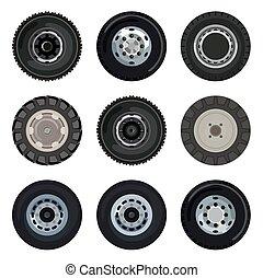 Land transport wheels - Different wheels on land transport
