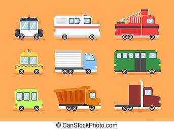 Land Transportation Clip art Vector Set Premium