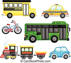 Land Transportation Vector Set