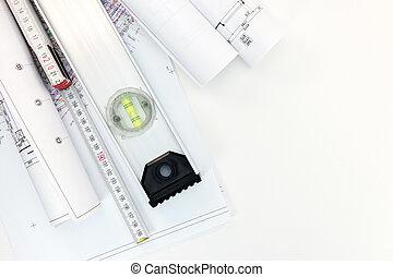 land-use, planes, cima, rollos, papel, arquitecto, lugar de trabajo, vista., dibujo, projects.