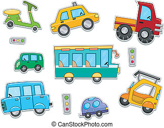 Illustration of Land Vehicles That Can be Printed Out as Stickers