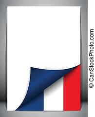 land, vlag, draaiende pagina, frankrijk