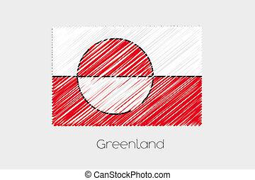 land, vlag, groenland, illustratie, p?? ?a?????feta?