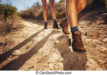 land, wandelende, hikers, steegjes