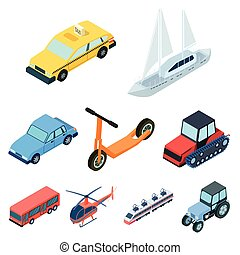 Land, water, air transport. Machines that people use. Transportation icon in set collection on cartoon isometric style vector symbol stock illustration.