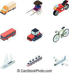 Land, water, air transport. Machines that people use.Transportation icon in set collection on cartoon isometric style vector symbol stock illustration.