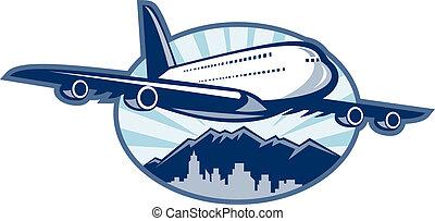 landara gagat, samolot, samolot pasażerski, rozdziewając, z, miasto skyline, i, góry, w, przedimek określony przed rzeczownikami, tło.