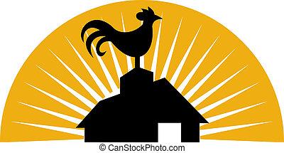 landbouwbedrijfhuis, bovenzijde, crowing, haan, of, schuur