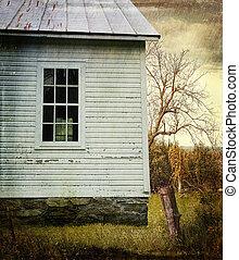 landbouwbedrijfhuis, venster, oud