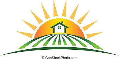 landbouwbedrijfhuis, zon, logo