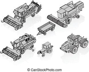 landbouwkundig, vector, voertuigen