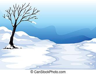 landcape, con, hielo